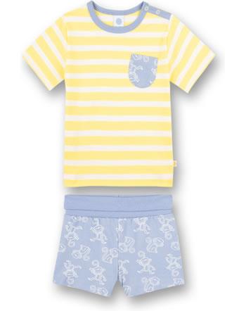Sanetta Pyjama short Monkey limone 221626-2256 GOTS