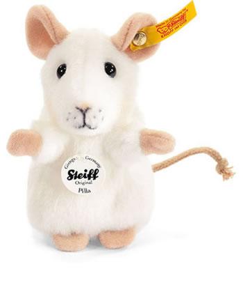Steiff Maus Pilla 10 cm weiß aufwartend 056215