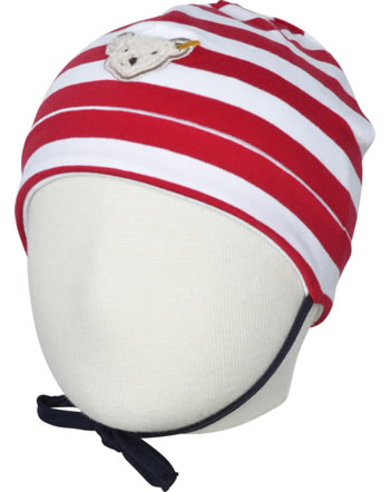 Steiff Baby-Mütze m.Bindeband BEAR TO SCHOOL tango red 2021334-4008