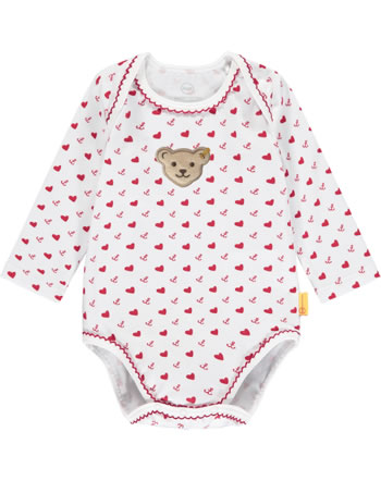 Steiff Bodysuit long sleeve MARINE AIR Baby Girls true red 2112403-4015