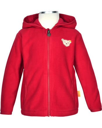 Steiff Jacket Fleece with hood BEAR TO SCHOOL tango red 2021217-4008