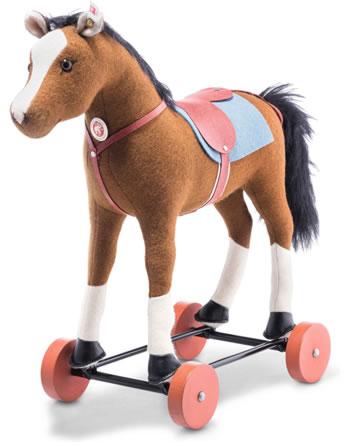 Steiff Friedhelms Pferd auf Rädern 32 cm braun Wollfilz 006838