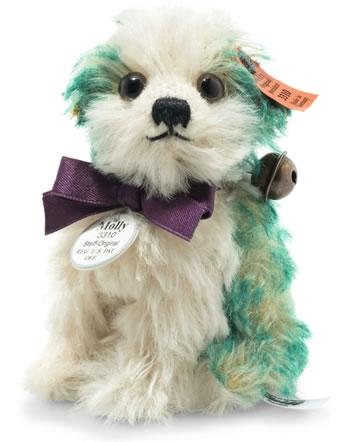 Steiff Dog Molly replica 1927 10 cm mohair white/green sitting 403439