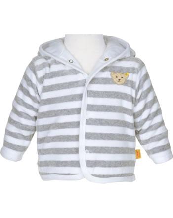 Steiff Jacket with hood velour BASIC soft grey melange 0021214-9007