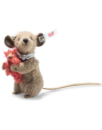 Steiff Maus Xenia mit Teddybär 11 cm braun aufwartend 006142