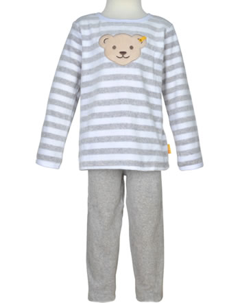 Steiff Schlafanzug Velour Langarm 2-tlg. BASIC soft grey melange 0021120-9007
