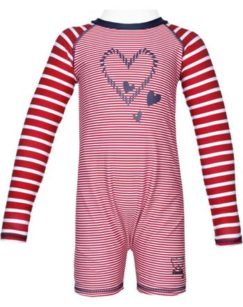 Steiff Schwimmanzug Badeoverall NAVY HEARTS tango red 2014611-4008