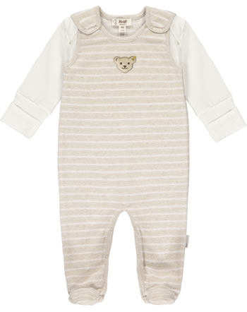 Steiff Romper and shirt BEAR HUGS velour sandshell 2022604-1005 GOTS