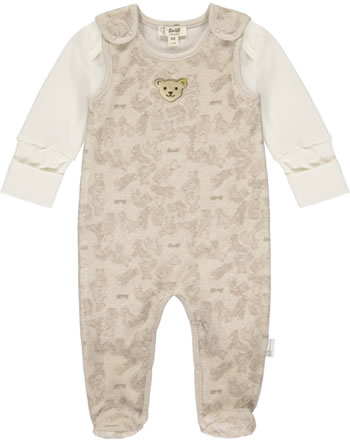 Steiff Romper and shirt BEAR HUGS velour sandshell 2022605-1005 GOTS