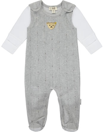 Steiff Romper and shirt RAINDROPS velour soft grey melange 2022508-9007 GOTS