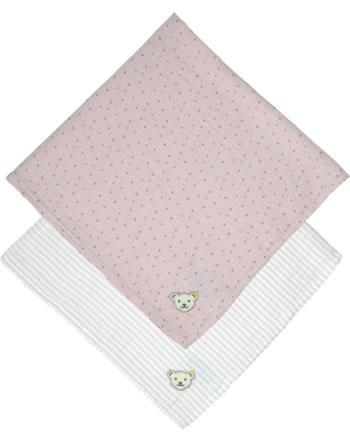 Steiff Spucktuch Mullwindel 2-tlg. ORGANIC DOTS Baby silver pink 2122509-3015