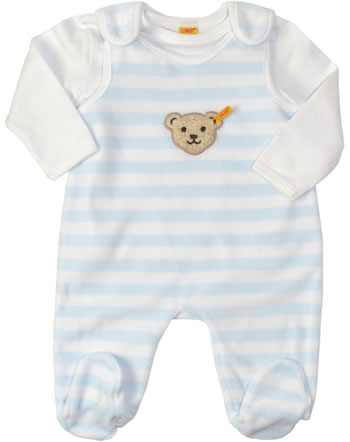 Steiff Romper suit with shirt BASIC baby blue 0002855-3023