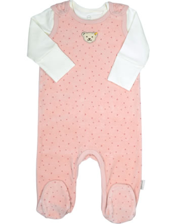 Steiff Strampler u. Shirt Velour BABY ORGANIC JUST DOTS silver pink 2122508-3015