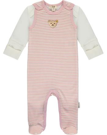 Steiff Strampler u. Shirt Velour BABY ORGANIC JUST DOTS silver pink 2122520-3015