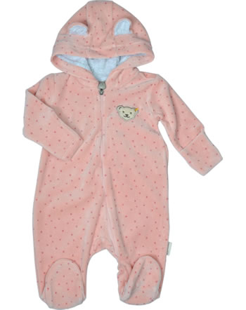 Steiff Romper velour BABY ORGANIC JUST DOTS silver pink 2122524-3015