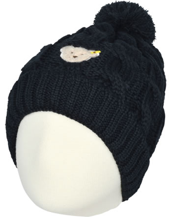 Steiff Bonnet knitted BLUE STRIPE black iris 1922525-3032
