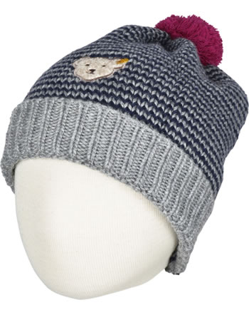 Steiff Strick-Mütze m. Bommel COLORFUL WINTER stripe 6843120-0001