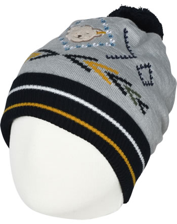 Steiff Strick-Mütze m. Bommel INDI BEAR Mini Boys soft grey melange 2022127-9007