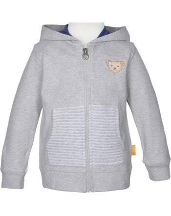 Steiff Sweat jacket with hood HIGH FIVE Mini Boys soft grey melange 2111102-9007