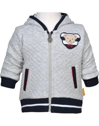 Steiff Sweat-Jacke m. Ohren-Kapuze BEAR TO SCHOOL soft grey melange 2021314-9007