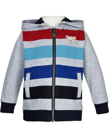 Steiff Sweatjacke mit Kapuze SAFARI BEAR soft grey melange 2013320-9007