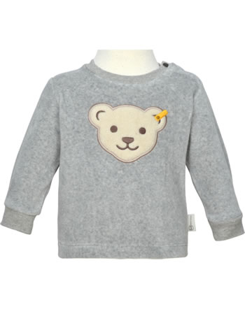 Steiff Sweatshirt RAINDROPS Velour soft grey melange 2022511-9007 GOTS