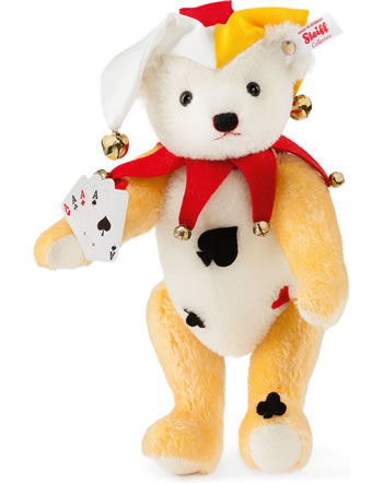 Steiff Teddy bear Joker 28 cm mohair white/yellow 021008