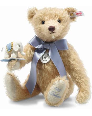 Steiff Ours Teddy avec petit éléphant en feutre 30 cm mohair beige 006166