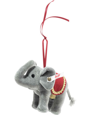 Steiff Weihnachtselefant 10 cm Ornament Samt grau 006050