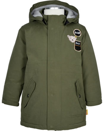 Steiff Winter-Jacke mit Kapuze INDI BEAR Mini Boys dusty olive 2022101-5020