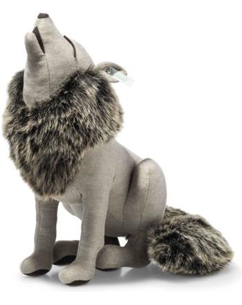 Steiff Wolf heulend 38 cm Leinen hellbraun sitzend Swarowski 025020