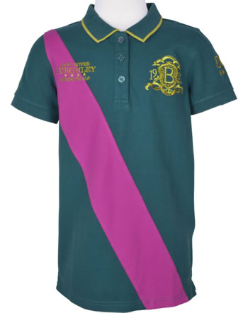 Tom Joule Polo-Shirt manches longues BURGHLEY vert/pink V_BURGHGIRLPOLO-DKGREEN