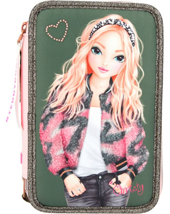 TOPModel pencil case with three parts and filling oliv 11191