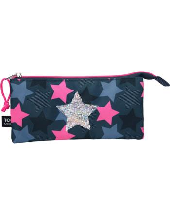 TOPModel Schlampertasche gefächert Streich-Pailletten Stern dunkelblau
