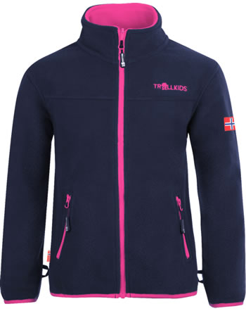 Trollkids Girls Fleece Jacket OPPDAL JACKET XT navy/magenta 415-114