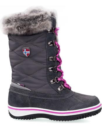 Trollkids Girls Snow Boots HOLMENKOLLEN steel grey/magenta 171-609