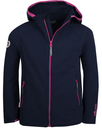 Trollkids Girls Softshell-Jacket with hood KVALVIKA navy/magenta 329-114
