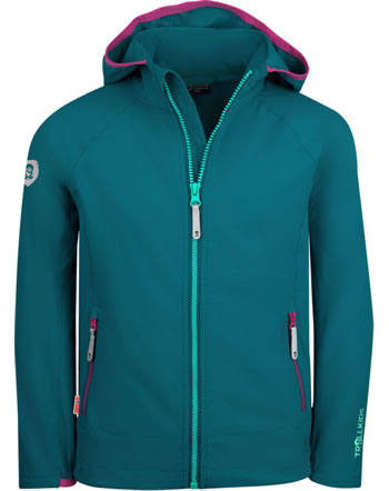 Trollkids Girls Softshell-Jacket with hood KVALVIKA smaragd/pink 329-312