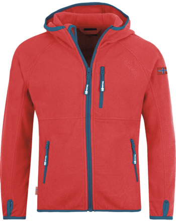 Trollkids Kids Fleece Jacket SANDEFJORD spicy red/petrol 260-414