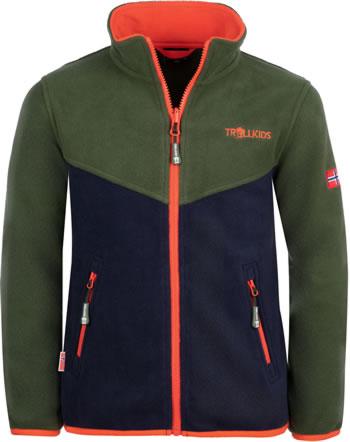 Trollkids Kids Fleece Jacket OPPDAL XT forest green/navy/fl. orange 414-322