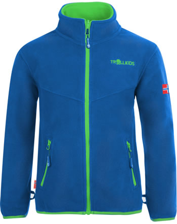 Trollkids Kids Fleece Jacket OPPDAL XT medium blue/bright green 414-106