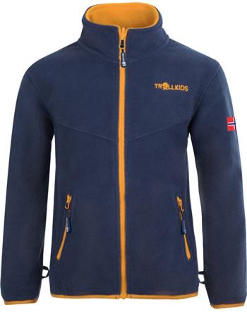 Trollkids Kids Fleece Jacket OPPDAL XT mystic blue/golden yellow 414-146