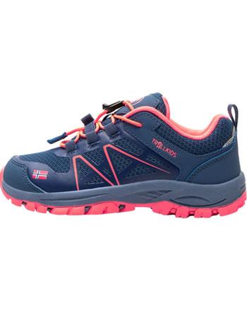 Trollkids Kids Hiking Shoes SANDEFJORD HIKER LOW midnight blue/coral 253-138