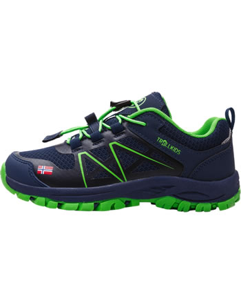 Trollkids Kids Hiking Shoes SANDEFJORD HIKER LOW navy/green 253-100