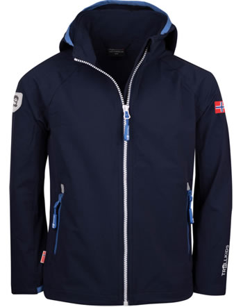 Trollkids Kids Softshell-Jacket with hood KVALVIKA navy/white/med blue 328-110