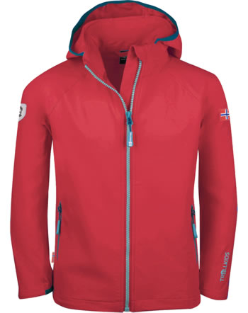 Trollkids Kids Softshell-Jacket with hood KVALVIKA spicy red/dolphin blue 328-414