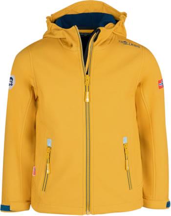 Trollkids Kids Softshell-Jacket TROLLFJORD golden yellow/mystic blue 161-703