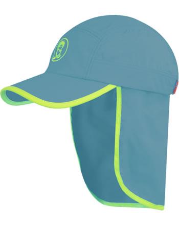 Trollkids Kids Summer cap mit Nackenschutz TROLL XT dolphin blue/lime 943-158