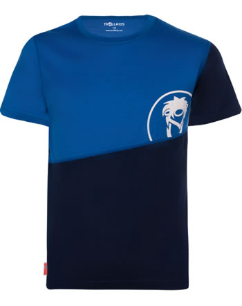 Trollkids Kids T-Shirt wool-mix SANDEFJORD T navy/medium blue 4346-117