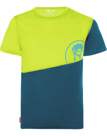 Trollkids Kids T-Shirt wool-mix SANDEFJORD T petrol/lime 346-151